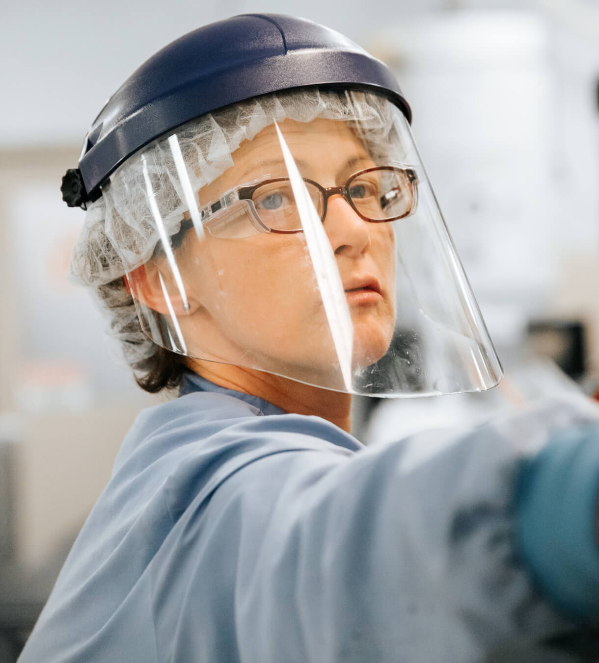 hitech employee with face shield